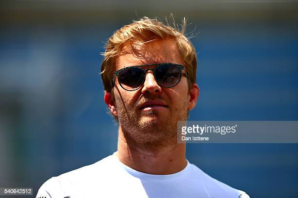 Nico Rosberg of Germany and Mercedes GP in the Paddock during previews ahead of the European Formula One Grand Prix at Baku City Circuit on June 16...
