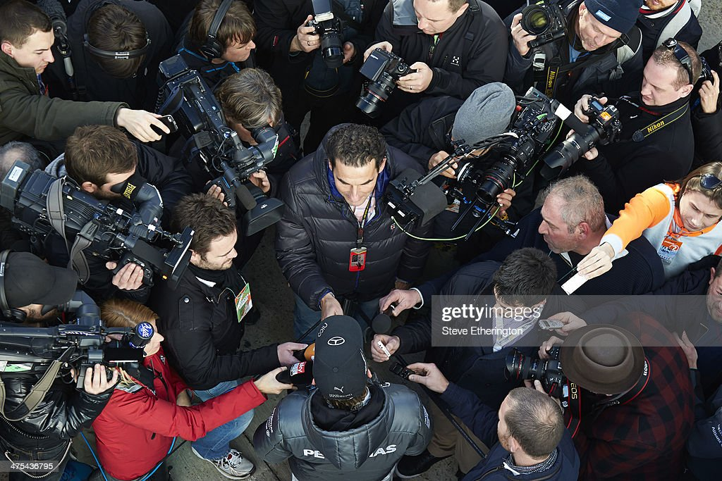 <a gi-track='captionPersonalityLinkClicked' href=/galleries/search?phrase=Nico+Rosberg&family=editorial&specificpeople=800808 ng-click='$event.stopPropagation()'>Nico Rosberg</a> of Germany and Mercedes GP is interviewed by the media following Formula One Winter Testing at the Circuito de Jerez on January 29, 2014 in Jerez de la Frontera, Spain.