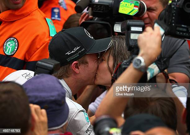 Nico Rosberg of Germany and Mercedes GP kisses his girlfriend Vivian Sibold following his victory during the Monaco Formula One Grand Prix at Circuit...