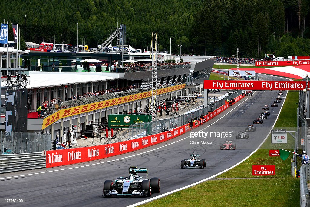 Nico Rosberg of Germany and Mercedes GP leads Lewis Hamilton of Great Britain and Mercedes GP as the race restarts during the Formula One Grand Prix...
