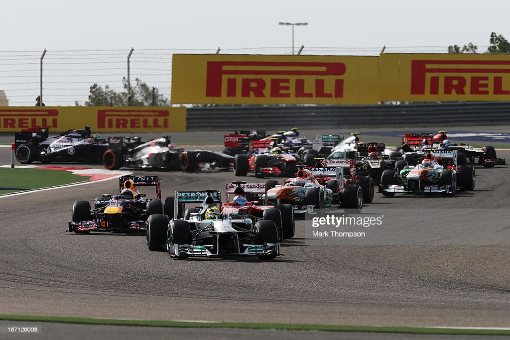 Nico Rosberg of Germany and Mercedes GP leads the field through the first corner at the start of the Bahrain Formula One Grand Prix at the Bahrain International Circuit on April 21, 2013 in Sakhir, Bahrain.