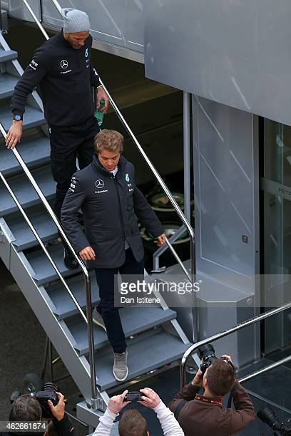 Nico Rosberg of Germany and Mercedes GP leaves the team motorhome during day two of Formula One Winter Testing at Circuito de Jerez on February 2...
