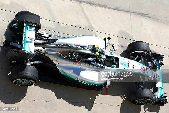 Nico Rosberg of Germany and Mercedes GP makes a pit stop due to a tyre puncture towards the end of the Formula One Grand Prix of Hungary at...