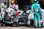 Nico Rosberg of Germany and Mercedes GP makes a pit stop during the Austrian Formula One Grand Prix at Red Bull Ring on June 22 2014 in Spielberg...