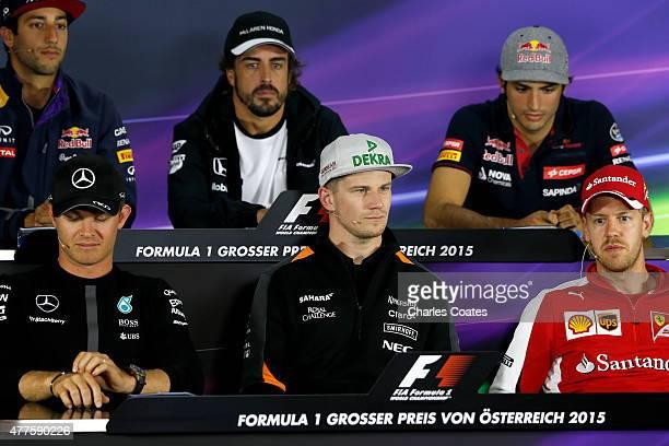 Nico Rosberg of Germany and Mercedes GP Nico Hulkenberg of Germany and Force India Sebastian Vettel of Germany and Ferrari and Daniel Ricciardo of...