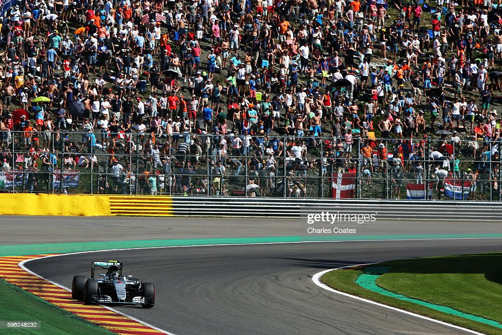 Nico Rosberg of Germany and Mercedes GP on his slow down lap after qualifying on pole position during qualifying for the Formula One Grand Prix of...