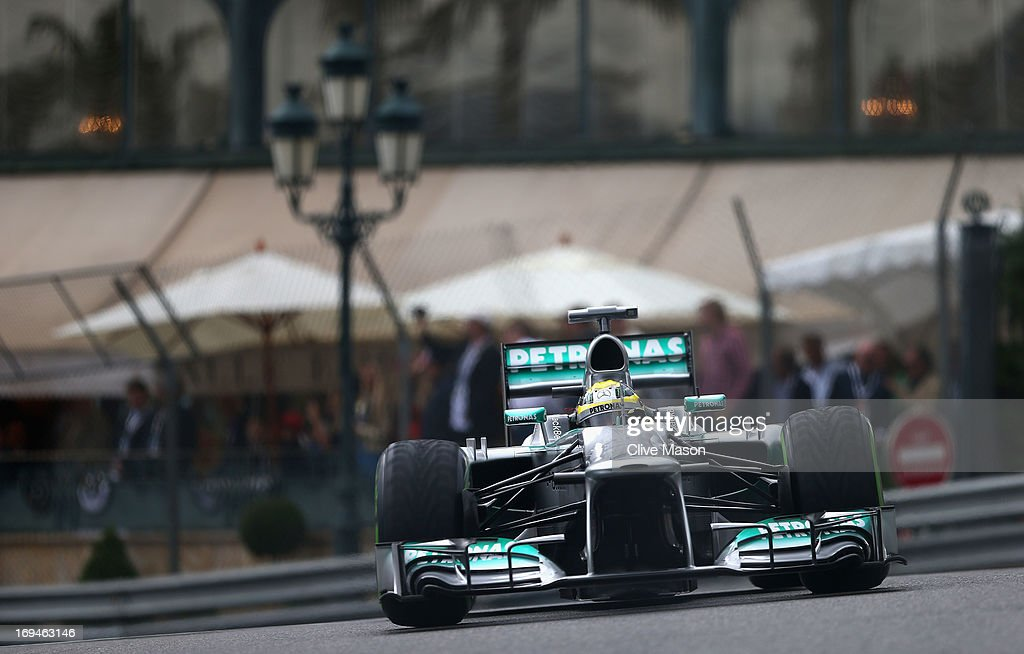 <a gi-track='captionPersonalityLinkClicked' href=/galleries/search?phrase=Nico+Rosberg&family=editorial&specificpeople=800808 ng-click='$event.stopPropagation()'>Nico Rosberg</a> of Germany and Mercedes GP on his way to finishing first during qualifying for the Monaco Formula One Grand Prix at the Circuit de Monaco on May 25, 2013 in Monte-Carlo, Monaco.