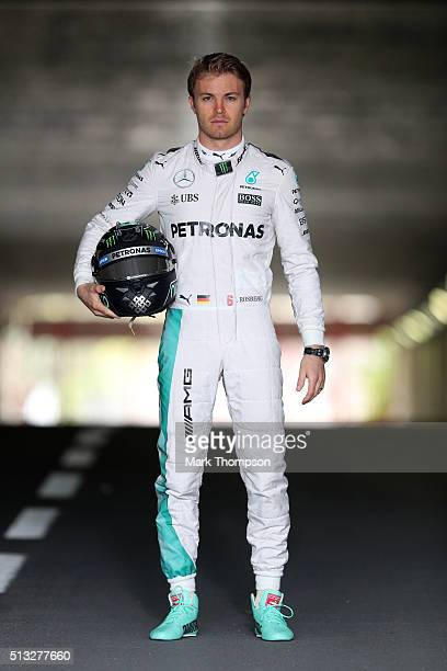 Nico Rosberg of Germany and Mercedes GP poses during day two of F1 winter testing at Circuit de Catalunya on March 2 2016 in Montmelo Spain