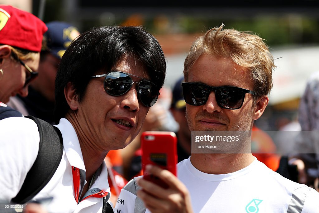 <a gi-track='captionPersonalityLinkClicked' href=/galleries/search?phrase=Nico+Rosberg&family=editorial&specificpeople=800808 ng-click='$event.stopPropagation()'>Nico Rosberg</a> of Germany and Mercedes GP poses for a photo with a fan during previews to the Monaco Formula One Grand Prix at Circuit de Monaco on May 27, 2016 in Monte-Carlo, Monaco.
