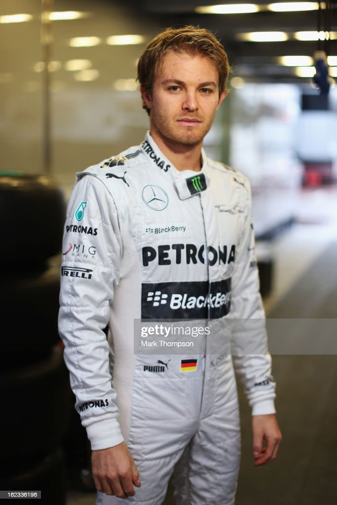 <a gi-track='captionPersonalityLinkClicked' href=/galleries/search?phrase=Nico+Rosberg&family=editorial&specificpeople=800808 ng-click='$event.stopPropagation()'>Nico Rosberg</a> of Germany and Mercedes GP poses for a photograph during day four of Formula One winter test at the Circuit de Catalunya on February 22, 2013 in Montmelo, Spain.