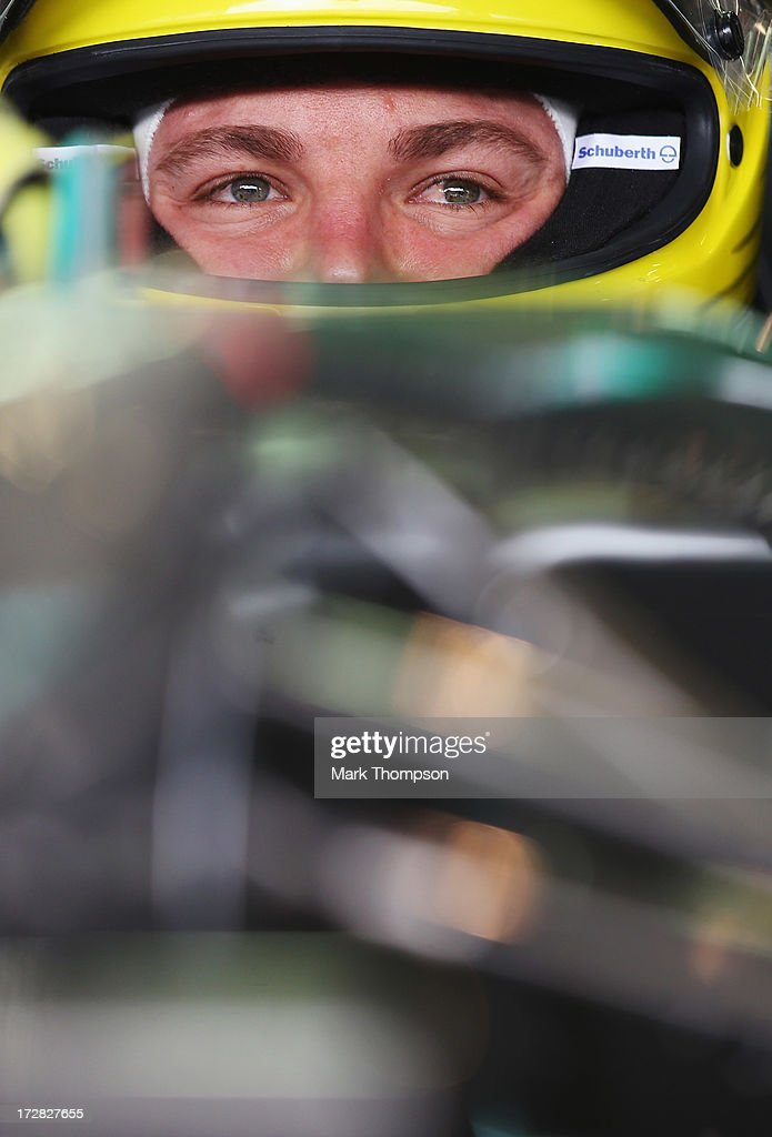 Nico Rosberg of Germany and Mercedes GP prepares to drive during practice for the German Grand Prix at the Nuerburgring on July 5, 2013 in Nuerburg, Germany.