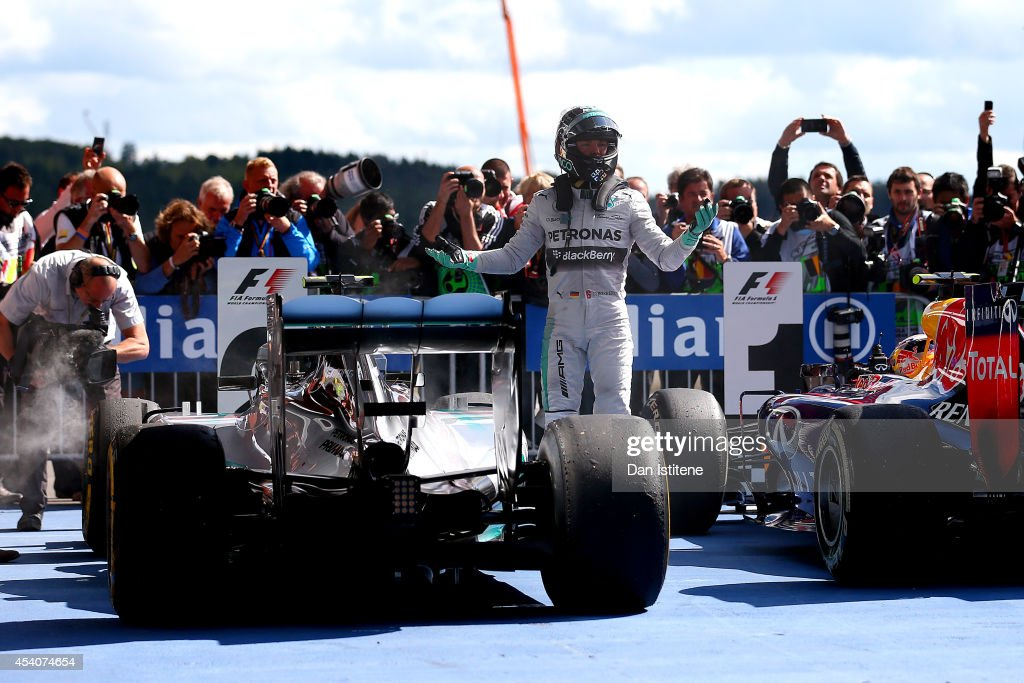 <a gi-track='captionPersonalityLinkClicked' href=/galleries/search?phrase=Nico+Rosberg&family=editorial&specificpeople=800808 ng-click='$event.stopPropagation()'>Nico Rosberg</a> of Germany and Mercedes GP reacts as he gets out of his car in Parc Ferme after finishing second in the Belgian Grand Prix at Circuit de Spa-Francorchamps on August 24, 2014 in Spa, Belgium.