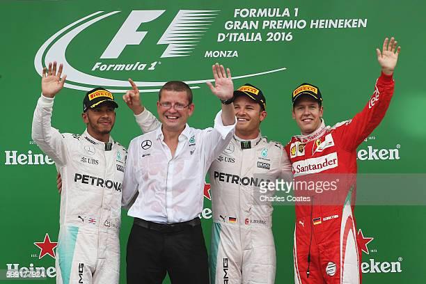 Nico Rosberg of Germany and Mercedes GP Sebastian Vettel of Germany and Ferrari Lewis Hamilton of Great Britain and Mercedes GP and Managing Director...