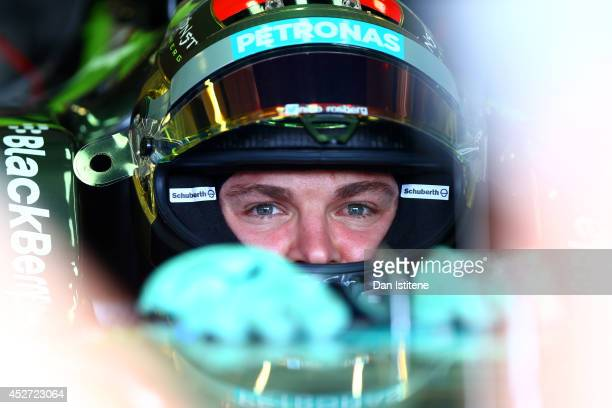 Nico Rosberg of Germany and Mercedes GP sits in his car in the garage during final practice ahead of the Hungarian Formula One Grand Prix at...