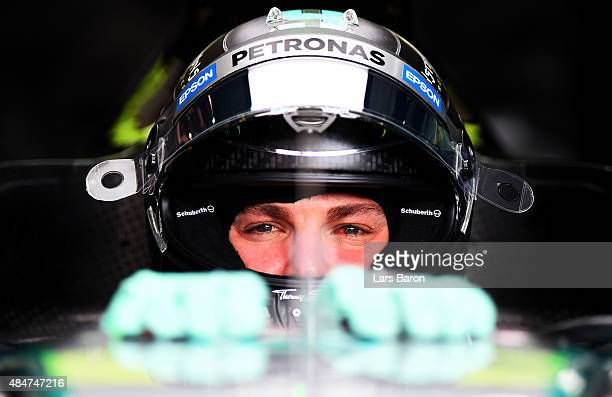 Nico Rosberg of Germany and Mercedes GP sits in his car in the garage during practice for the Formula One Grand Prix of Belgium at Circuit de...