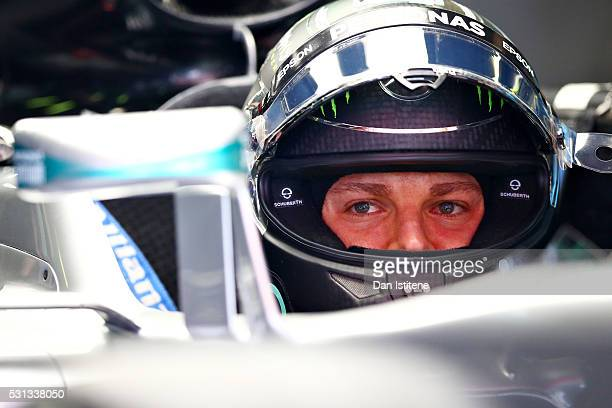 Nico Rosberg of Germany and Mercedes GP sits in his car in the garage during final practice ahead of the Spanish Formula One Grand Prix at Circuit de...