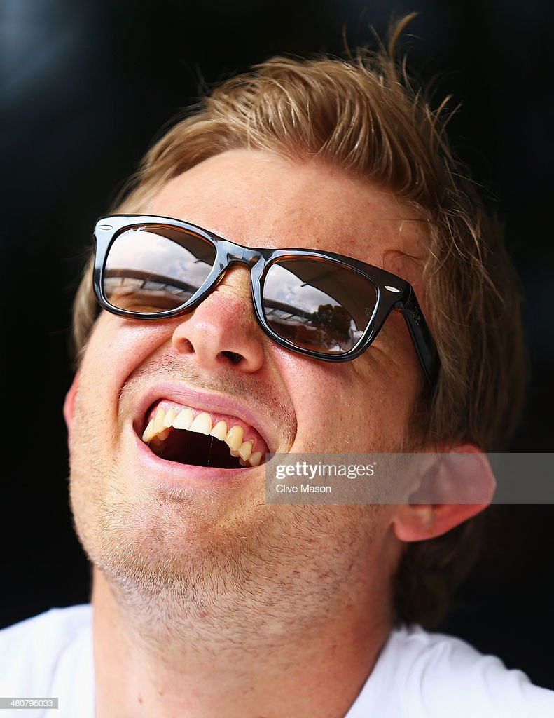 Nico Rosberg of Germany and Mercedes GP sits in the paddock during previews to the Malaysia Formula One Grand Prix at the Sepang Circuit on March 27, 2014 in Kuala Lumpur, Malaysia.
