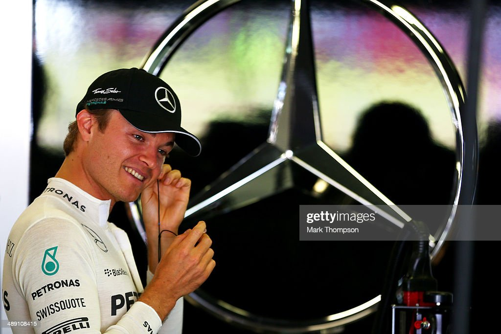 Nico Rosberg of Germany and Mercedes GP smiles during qualifying ahead of the Spanish F1 Grand Prix at Circuit de Catalunya on May 10, 2014 in Montmelo, Spain.