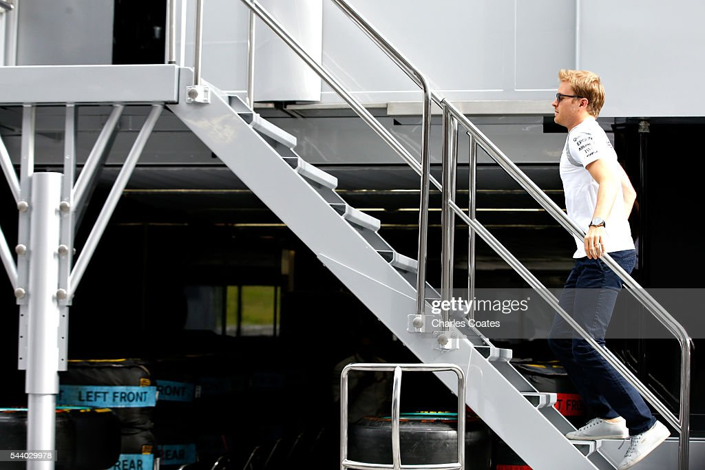 Nico Rosberg of Germany and Mercedes GP walks into a Mercedes truck in the Paddock before practice for the Formula One Grand Prix of Austria at Red Bull Ring on July 1, 2016 in Spielberg, Austria.