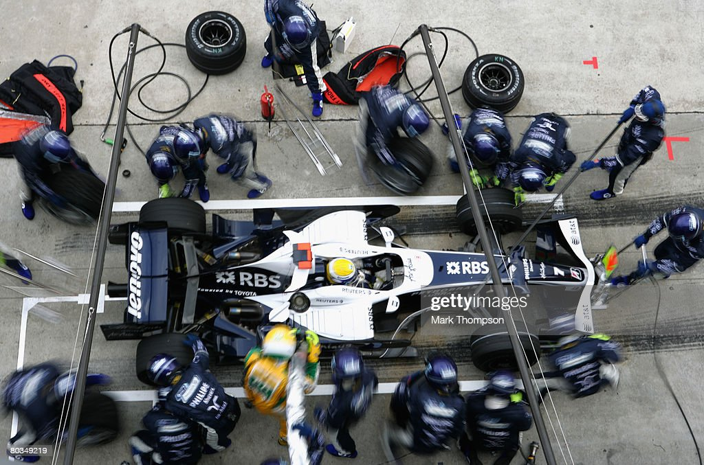 Nico Rosberg of Germany and Williams comes in for a pitstop during the Malaysian Formula One Grand Prix at the Sepang Circuit on March 23, 2008 in Kuala Lumpur, Malaysia.