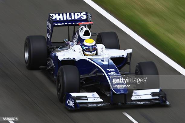 Nico Rosberg of Germany and Williams drives during final practice prior to qualifying for the British Formula One Grand Prix at Silverstone on June...