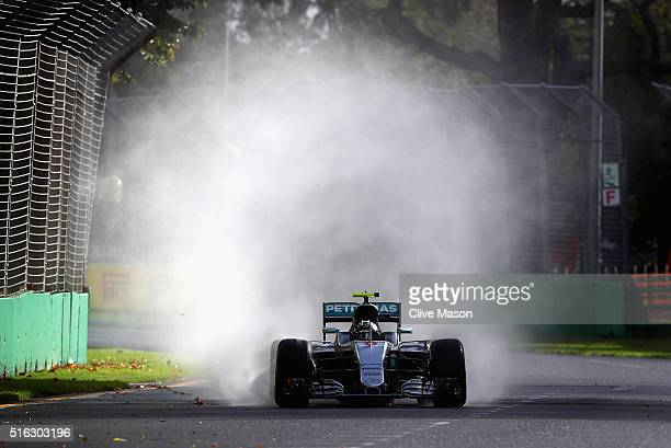 Nico Rosberg of Germany drives the Mercedes AMG Petronas F1 Team Mercedes F1 WO7 Mercedes PU106C Hybrid turbo on track during practice ahead of the...
