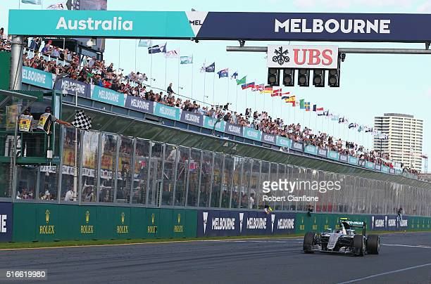 Nico Rosberg of Germany drives the Mercedes AMG Petronas F1 Team Mercedes F1 WO7 Mercedes PU106C Hybrid turbo takes the chequered flag on track...