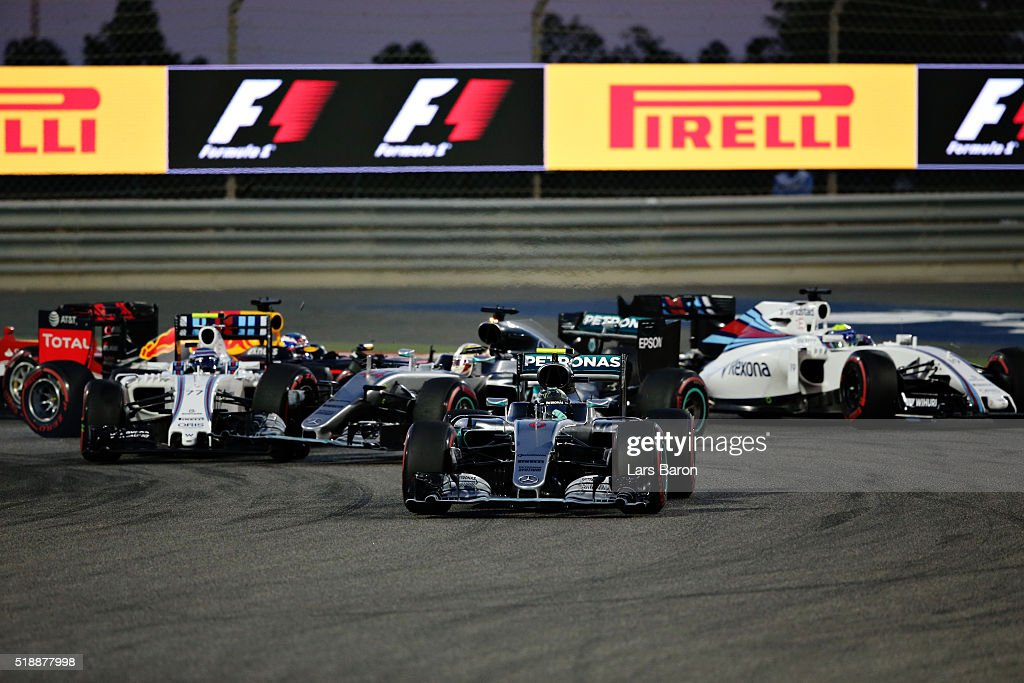 <a gi-track='captionPersonalityLinkClicked' href=/galleries/search?phrase=Nico+Rosberg&family=editorial&specificpeople=800808 ng-click='$event.stopPropagation()'>Nico Rosberg</a> of Germany drives the (6) Mercedes AMG Petronas F1 Team Mercedes F1 WO7 Mercedes PU106C Hybrid turbo leads the field as <a gi-track='captionPersonalityLinkClicked' href=/galleries/search?phrase=Lewis+Hamilton+-+Racecar+Driver&family=editorial&specificpeople=586983 ng-click='$event.stopPropagation()'>Lewis Hamilton</a> of Great Britain drives the (44) Mercedes AMG Petronas F1 Team Mercedes F1 WO7 Mercedes PU106C Hybrid turbo, spins hitting <a gi-track='captionPersonalityLinkClicked' href=/galleries/search?phrase=Valtteri+Bottas&family=editorial&specificpeople=8640136 ng-click='$event.stopPropagation()'>Valtteri Bottas</a> of Finland drives the (77) Williams Martini Racing Williams FW38 Mercedes PU106C Hybrid turbo during the Bahrain Formula One Grand Prix at Bahrain International Circuit on April 3, 2016 in Sakhir, Bahrain.