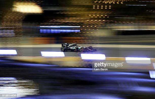 Nico Rosberg of Germany drives the Mercedes AMG Petronas F1 Team Mercedes F1 WO7 Mercedes PU106C Hybrid turbo on track during the Bahrain Formula One...
