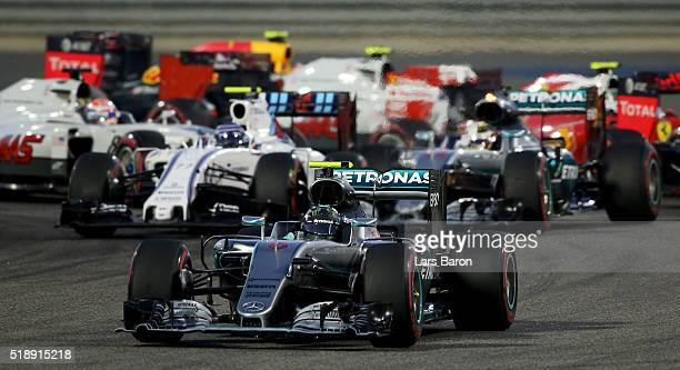 Nico Rosberg of Germany drives the Mercedes AMG Petronas F1 Team Mercedes F1 WO7 Mercedes PU106C Hybrid turbo leads round the second corner during...
