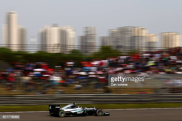 Nico Rosberg of Germany drives the Mercedes AMG Petronas F1 Team Mercedes F1 WO7 Mercedes PU106C Hybrid turbo during the Formula One Grand Prix of...
