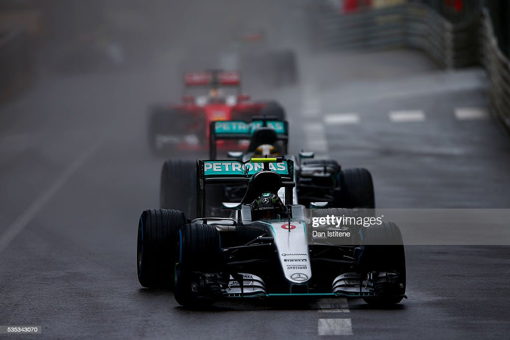 <a gi-track='captionPersonalityLinkClicked' href=/galleries/search?phrase=Nico+Rosberg&family=editorial&specificpeople=800808 ng-click='$event.stopPropagation()'>Nico Rosberg</a> of Germany drives the Mercedes AMG Petronas F1 Team Mercedes F1 WO7 Mercedes PU106C Hybrid turbo ahead of team-mate <a gi-track='captionPersonalityLinkClicked' href=/galleries/search?phrase=Lewis+Hamilton&family=editorial&specificpeople=586983 ng-click='$event.stopPropagation()'>Lewis Hamilton</a> of Great Britain and Mercedes GP and <a gi-track='captionPersonalityLinkClicked' href=/galleries/search?phrase=Sebastian+Vettel&family=editorial&specificpeople=2233605 ng-click='$event.stopPropagation()'>Sebastian Vettel</a> of Germany and Ferrari during the Monaco Formula One Grand Prix at Circuit de Monaco on May 29, 2016 in Monte-Carlo, Monaco.