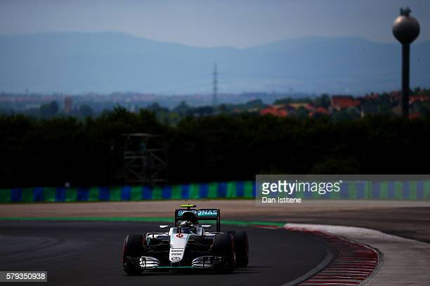 Nico Rosberg of Germany drives the Mercedes AMG Petronas F1 Team Mercedes F1 WO7 Mercedes PU106C Hybrid turbo during qualifying for the Formula One...