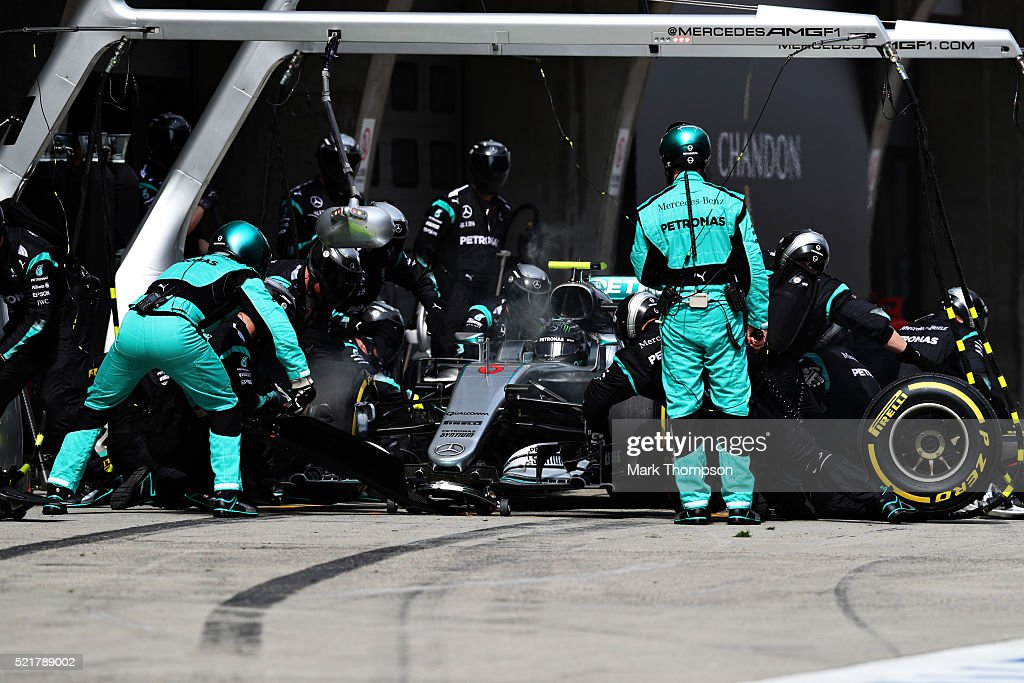 Nico Rosberg of Germany driving the (6) Mercedes AMG Petronas F1 Team Mercedes F1 WO7 Mercedes PU106C Hybrid turbo makes a pitstop for new tyres during the Formula One Grand Prix of China at Shanghai International Circuit on April 17, 2016 in Shanghai, China.