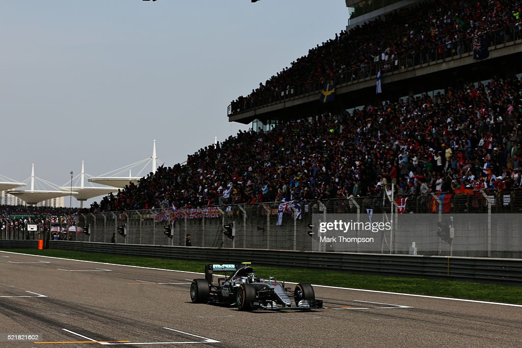 Nico Rosberg of Germany driving the (6) Mercedes AMG Petronas F1 Team Mercedes F1 WO7 Mercedes PU106C Hybrid turbo on track during the Formula One Grand Prix of China at Shanghai International Circuit on April 17, 2016 in Shanghai, China.