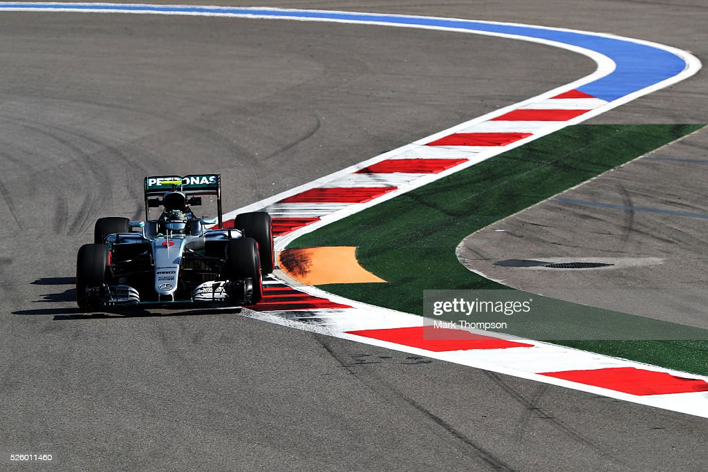 <a gi-track='captionPersonalityLinkClicked' href=/galleries/search?phrase=Nico+Rosberg&family=editorial&specificpeople=800808 ng-click='$event.stopPropagation()'>Nico Rosberg</a> of Germany driving the (6) Mercedes AMG Petronas F1 Team Mercedes F1 WO7 Mercedes PU106C Hybrid turbo on track during practice for the Formula One Grand Prix of Russia at Sochi Autodrom on April 29, 2016 in Sochi, Russia.