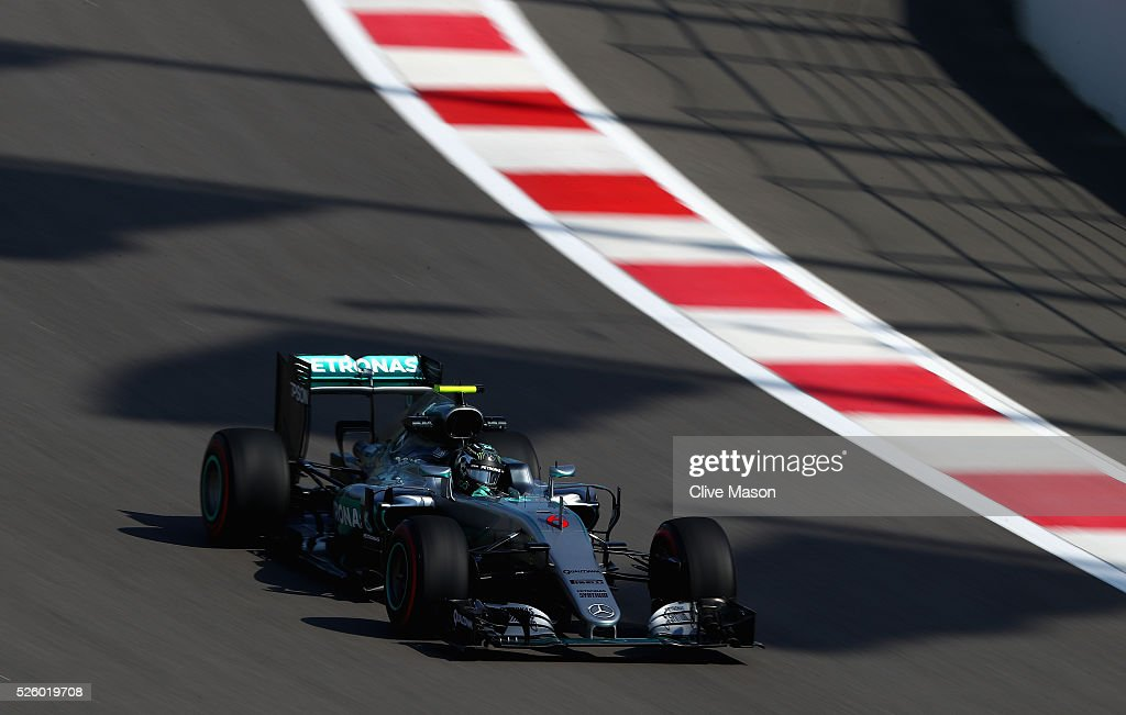 Nico Rosberg of Germany driving the (6) Mercedes AMG Petronas F1 Team Mercedes F1 WO7 Mercedes PU106C Hybrid turbo on track during practice for the Formula One Grand Prix of Russia at Sochi Autodrom on April 29, 2016 in Sochi, Russia.