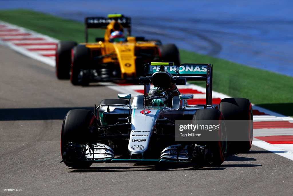 <a gi-track='captionPersonalityLinkClicked' href=/galleries/search?phrase=Nico+Rosberg&family=editorial&specificpeople=800808 ng-click='$event.stopPropagation()'>Nico Rosberg</a> of Germany driving the (6) Mercedes AMG Petronas F1 Team Mercedes F1 WO7 Mercedes PU106C Hybrid turbo on track ahead of <a gi-track='captionPersonalityLinkClicked' href=/galleries/search?phrase=Jolyon+Palmer&family=editorial&specificpeople=7493068 ng-click='$event.stopPropagation()'>Jolyon Palmer</a> of Great Britain driving the (30) Renault Sport Formula One Team Renault RS16 Renault RE16 turbo during practice for the Formula One Grand Prix of Russia at Sochi Autodrom on April 29, 2016 in Sochi, Russia.