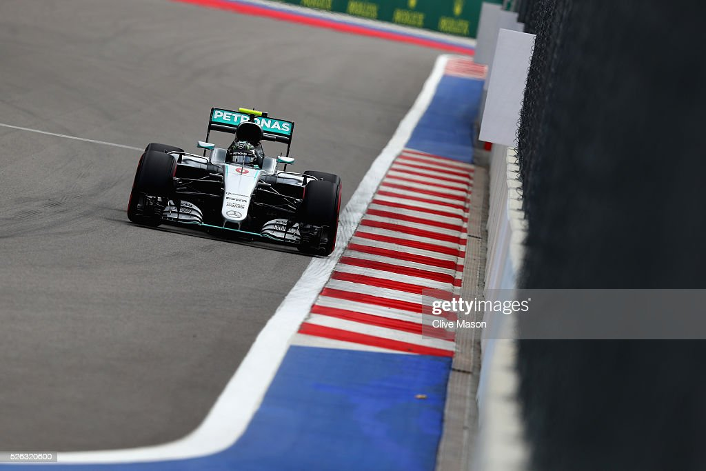 <a gi-track='captionPersonalityLinkClicked' href=/galleries/search?phrase=Nico+Rosberg&family=editorial&specificpeople=800808 ng-click='$event.stopPropagation()'>Nico Rosberg</a> of Germany driving the (6) Mercedes AMG Petronas F1 Team Mercedes F1 WO7 Mercedes PU106C Hybrid turbo on track during final practice ahead of the Formula One Grand Prix of Russia at Sochi Autodrom on April 30, 2016 in Sochi, Russia.