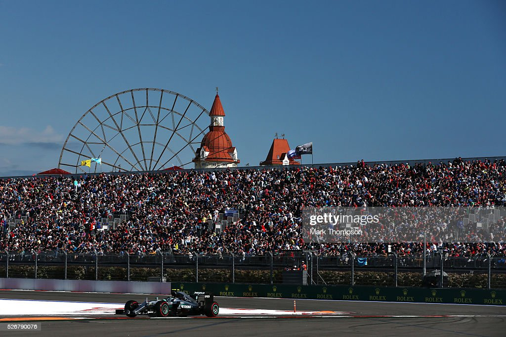 Nico Rosberg of Germany driving the (6) Mercedes AMG Petronas F1 Team Mercedes F1 WO7 Mercedes PU106C Hybrid turbo on track during the Formula One Grand Prix of Russia at Sochi Autodrom on May 1, 2016 in Sochi, Russia.