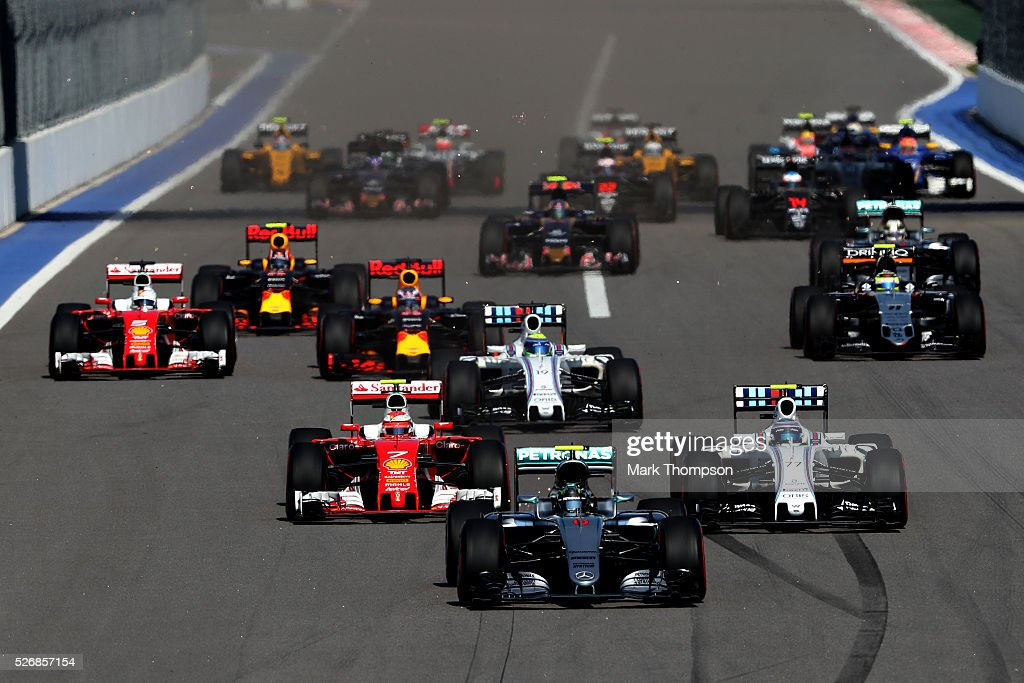 Nico Rosberg of Germany driving the (6) Mercedes AMG Petronas F1 Team Mercedes F1 WO7 Mercedes PU106C Hybrid turbo leads the field at the start during the Formula One Grand Prix of Russia at Sochi Autodrom on May 1, 2016 in Sochi, Russia.