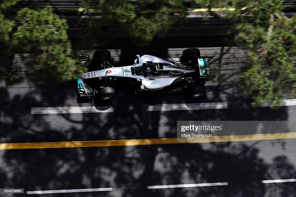 Nico Rosberg of Germany driving the (6) Mercedes AMG Petronas F1 Team Mercedes F1 WO7 Mercedes PU106C Hybrid turbo on track during practice for the Monaco Formula One Grand Prix at Circuit de Monaco on May 26, 2016 in Monte-Carlo, Monaco.