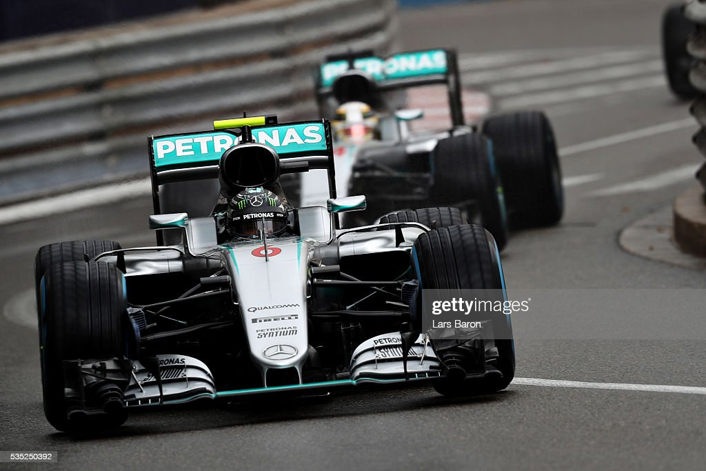 <a gi-track='captionPersonalityLinkClicked' href=/galleries/search?phrase=Nico+Rosberg&family=editorial&specificpeople=800808 ng-click='$event.stopPropagation()'>Nico Rosberg</a> of Germany driving the (6) Mercedes AMG Petronas F1 Team Mercedes F1 WO7 Mercedes PU106C Hybrid turbo leads <a gi-track='captionPersonalityLinkClicked' href=/galleries/search?phrase=Lewis+Hamilton&family=editorial&specificpeople=586983 ng-click='$event.stopPropagation()'>Lewis Hamilton</a> of Great Britain driving the (44) Mercedes AMG Petronas F1 Team Mercedes F1 WO7 Mercedes PU106C Hybrid turbo on track during the Monaco Formula One Grand Prix at Circuit de Monaco on May 29, 2016 in Monte-Carlo, Monaco.