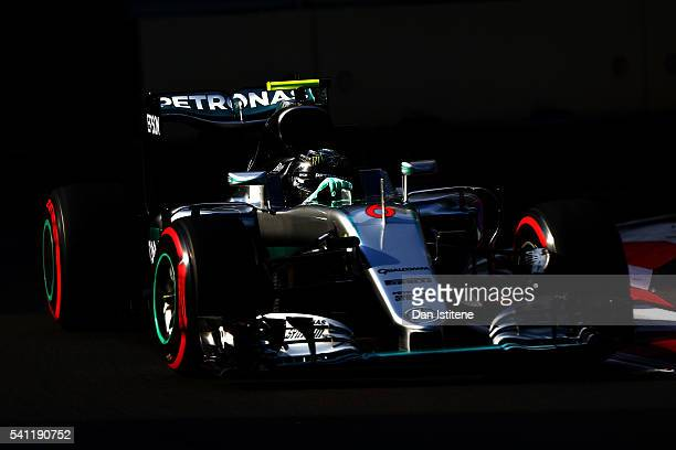 Nico Rosberg of Germany driving the Mercedes AMG Petronas F1 Team Mercedes F1 WO7 Mercedes PU106C Hybrid turbo on track during the European Formula...