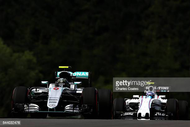 Nico Rosberg of Germany driving the Mercedes AMG Petronas F1 Team Mercedes F1 WO7 Mercedes PU106C Hybrid turbo ahead of Valtteri Bottas of Finland...