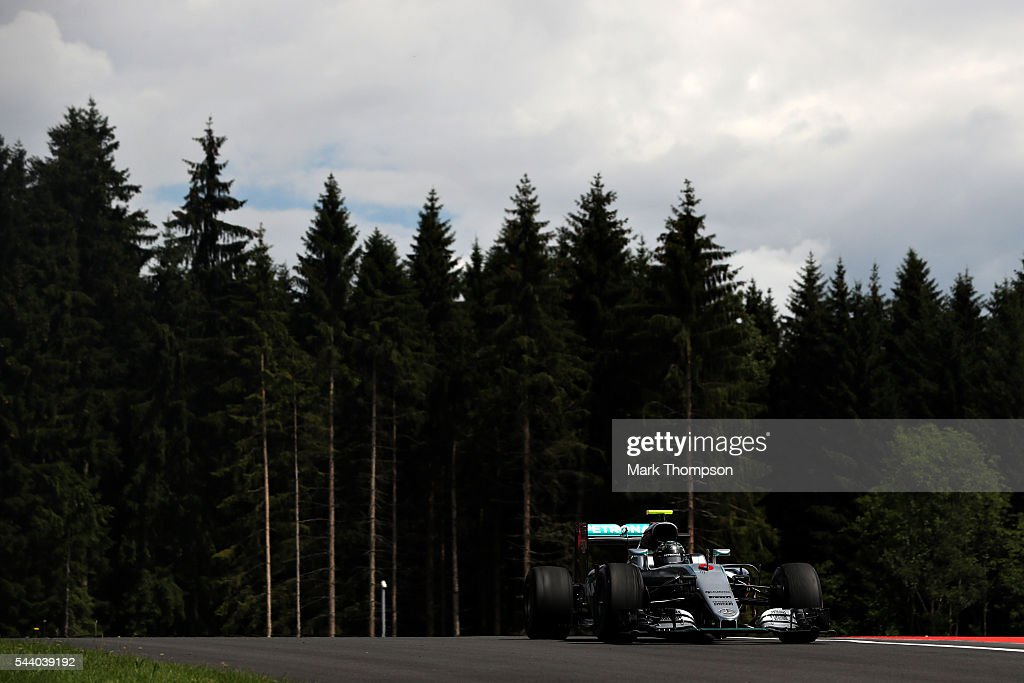 Nico Rosberg of Germany driving the (6) Mercedes AMG Petronas F1 Team Mercedes F1 WO7 Mercedes PU106C Hybrid turbo on track during practice for the Formula One Grand Prix of Austria at Red Bull Ring on July 1, 2016 in Spielberg, Austria.
