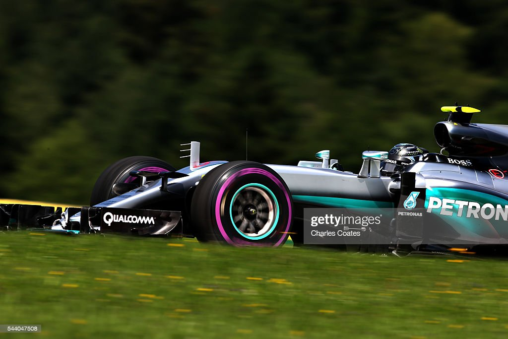<a gi-track='captionPersonalityLinkClicked' href=/galleries/search?phrase=Nico+Rosberg&family=editorial&specificpeople=800808 ng-click='$event.stopPropagation()'>Nico Rosberg</a> of Germany driving the (6) Mercedes AMG Petronas F1 Team Mercedes F1 WO7 Mercedes PU106C Hybrid turbo on track during practice for the Formula One Grand Prix of Austria at Red Bull Ring on July 1, 2016 in Spielberg, Austria.