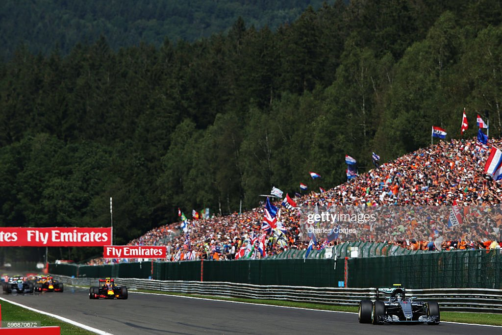 Nico Rosberg of Germany driving the Mercedes AMG Petronas F1 Team Mercedes F1 WO7 Mercedes PU106C Hybrid turbo leads at the start during the Formula...