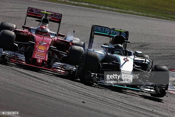 Nico Rosberg of Germany driving the Mercedes AMG Petronas F1 Team Mercedes F1 WO7 Mercedes PU106C Hybrid turbo and Kimi Raikkonen of Finland driving...