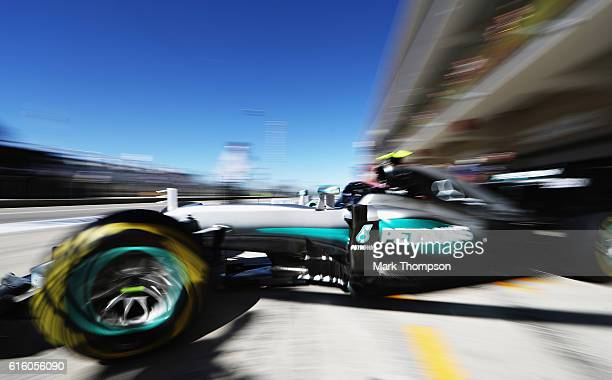 Nico Rosberg of Germany driving the Mercedes AMG Petronas F1 Team Mercedes F1 WO7 Mercedes PU106C Hybrid turbo leaves the garage during practice for...